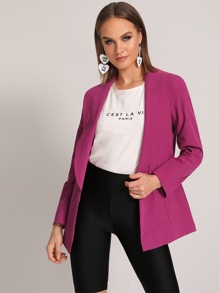 Solid Shawl Collar Button Front Blazer