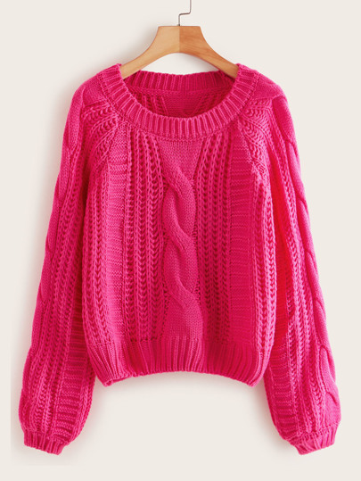 Neon Pink Cable Knit Solid Sweater