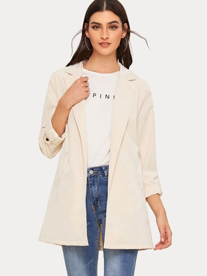 Lapel Neck Rolled Up Sleeve Trench Coat