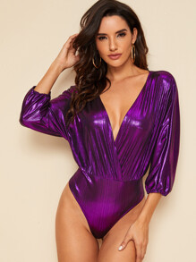 Plunge Neck Metallic Surplice Bodysuit