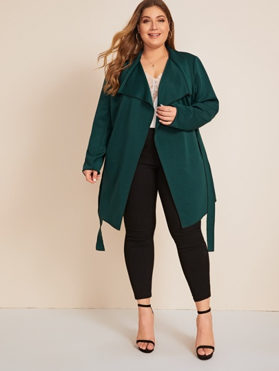 Plus Waterfall Neck Belted Trench Coat