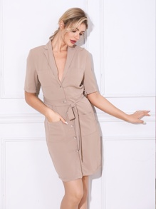 Double Crazy Button Front Belted Blazer Dress