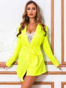 Glamaker Neon Lime Belted Blazer Dress