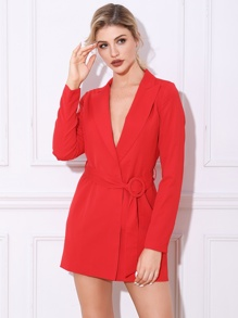 Double Crazy Solid Belted Blazer Dress