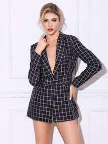 Double Crazy Grid Print Adjustable Belted Blazer Dress