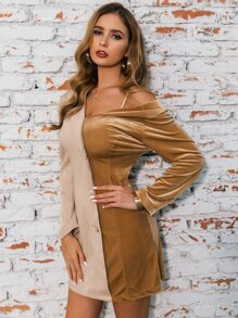 Glamaker Two Tone Asymmetrical Neck Velvet Blazer Dress