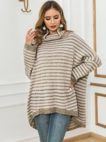 Glamaker Striped High Low Hem Batwing Sleeve Sweater