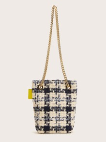 Tweed Chain Crossbody Bag