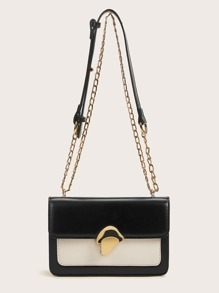 Metal Lock Two Tone Chain Bag