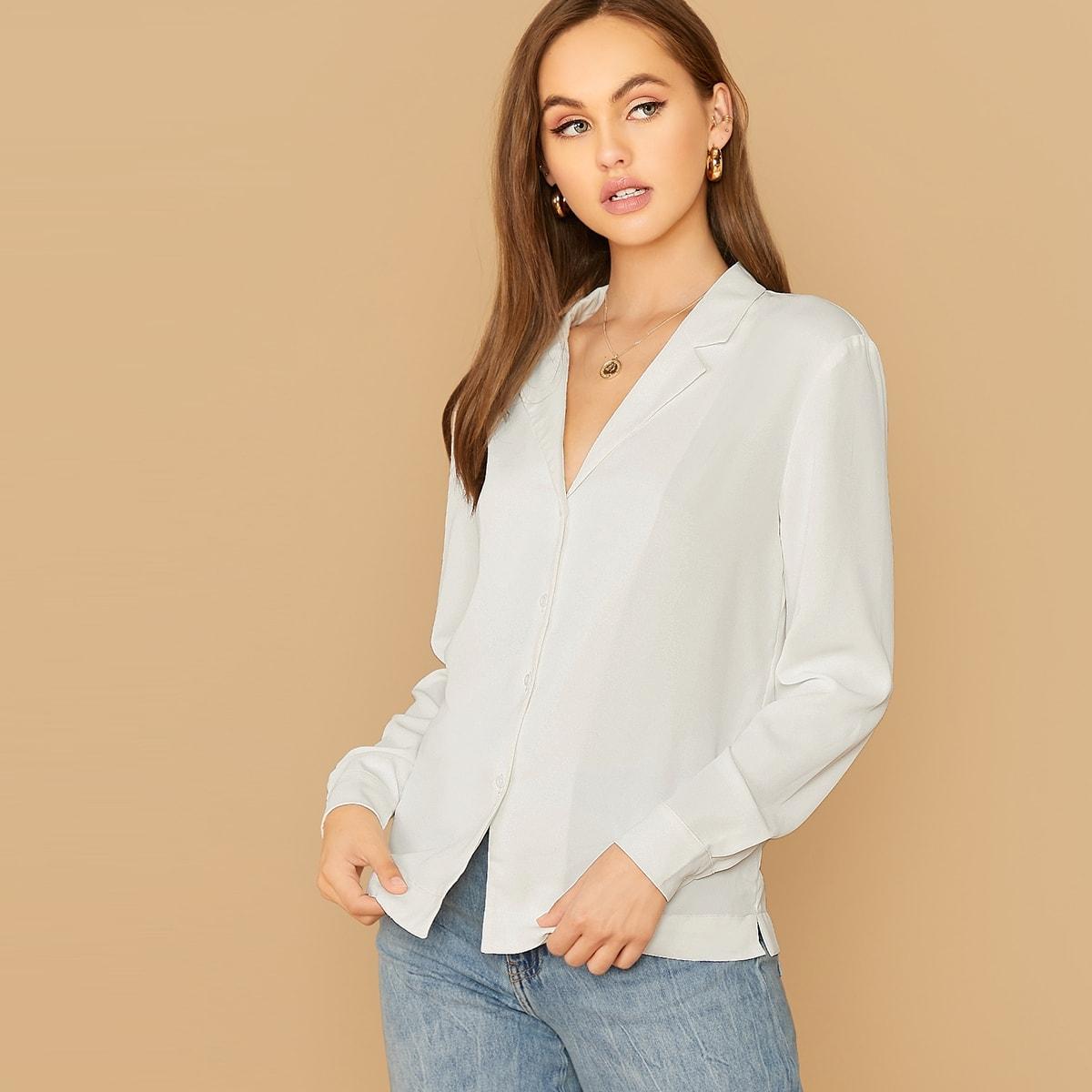 Стильная однотонная рубашка