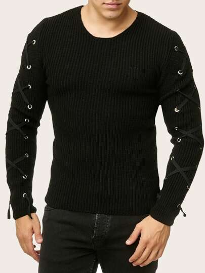 Guys Lace-up Sleeve Ribbed Knit Jumper