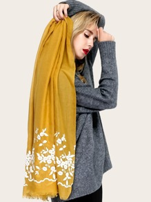 Flower Embroidered Raw Hem Scarf
