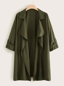 Plus Army Green Waterfall Collar Trench Coat