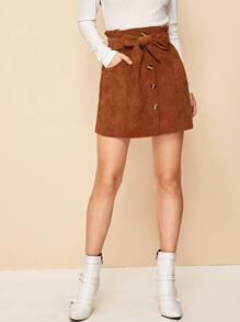 Corduroy Single Breasted Belted Paperbag Waist Skirt