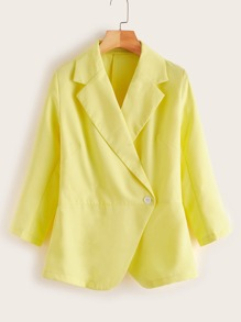 Lapel Neck Single Button Blazer