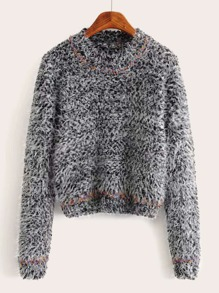 Mohair Space Dye Sequin Fluffy Knit Sweater