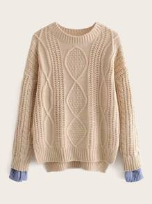 Contrast Cuff Split Cable Knit Sweater