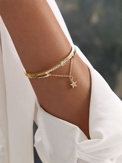 Star & Rhinestone Decor Bracelet 1pc