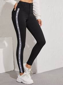 Tape Contrast Skinny Jeans