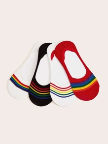 Rainbow Striped Pattern Invisible Socks 4pairs