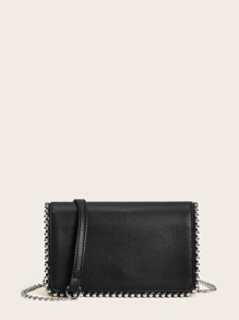 Rivet Trim Decor Crossbody Bag
