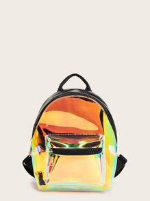 Holographic Detail Pocket Front Backpack