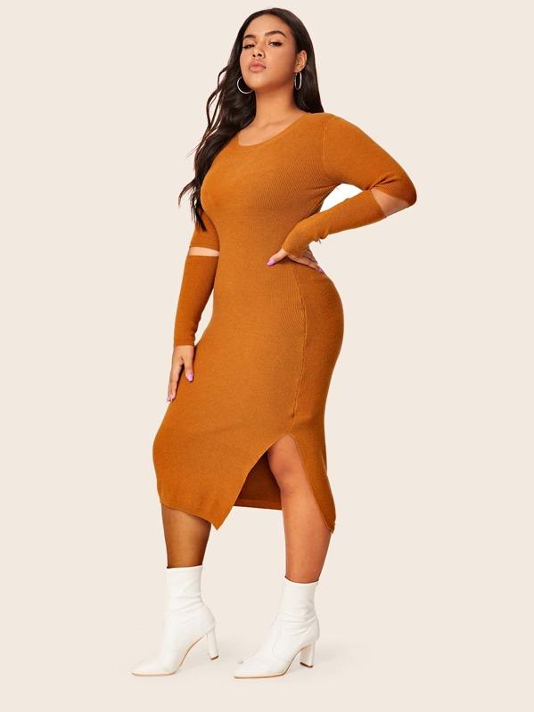 Plus Mesh Insert Split Side Sweater Dress