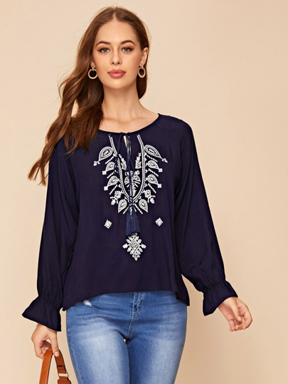 Tassel Tie Embroidery Peasant Blouse