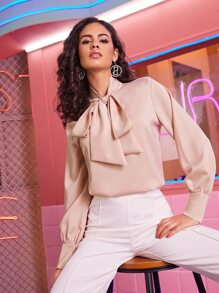 Tie Neck Long Sleeve Satin Blouse
