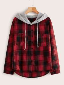 High Low Contrast Hooded Tartan Blouse