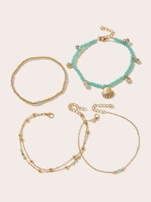 Shell & Rhinestone Decor Chain Anklet 4pcs