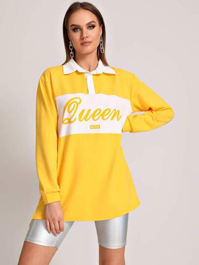 Contrast Panel Polo Neck Letter Print Sweatshirt
