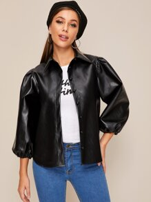 Button Front Bishop Sleeve PU Jacket