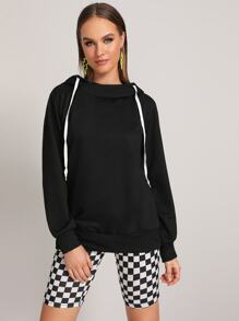 Drawstring Detail Long Sleeve Hooded Sweatshirt