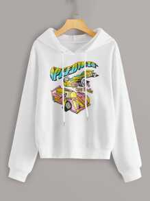 Racing Car & Letter Print Drawstring Hoodie