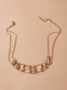 Letter Charm Layered Necklace 1pc