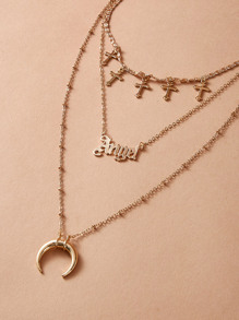 Moon & Cross Charm Layered Necklace 1pc