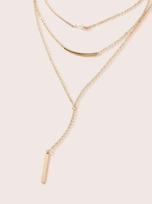 Bar & Faux Pearl Charm Layered Lariat Necklace 1pc