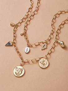 Coin & Shell Charm Chain Necklace 2pcs