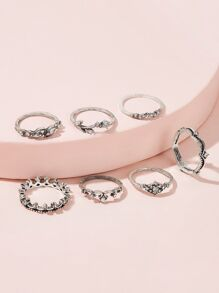 Rhinestone Decor Ring 7pcs