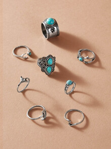 Turquoise Decor Ring 8pcs