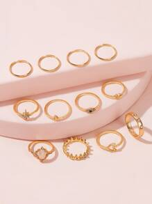 Rhinestone Decor Ring 12pcs