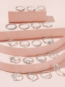 Leaf & Moon Decor Ring 19pcs