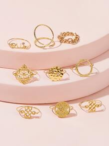 Geometric Chain Decor Ring 9pcs