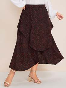 Plus Ditsy Floral Asymmetrical Hem Skirt