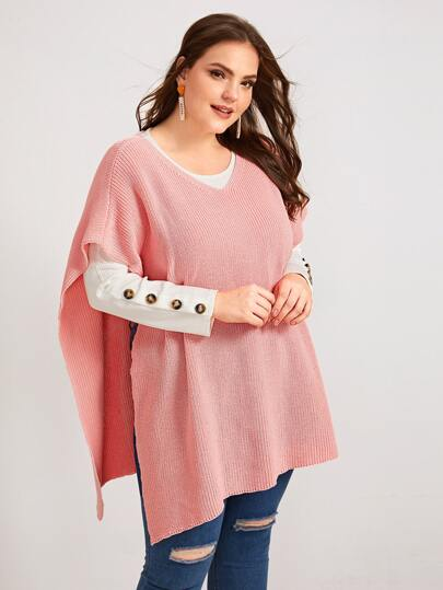 Plus Solid V Neck Poncho Sweater