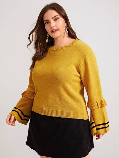 Plus Striped Ruffle Trim Flounce Sleeve Sweater