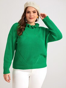 Plus Pointelle Knit Frill Neck Jumper