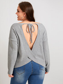 Plus Tie Back Backless Jumper