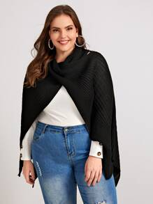 Plus Ribbed Knit Cowl Neck Poncho Jumper